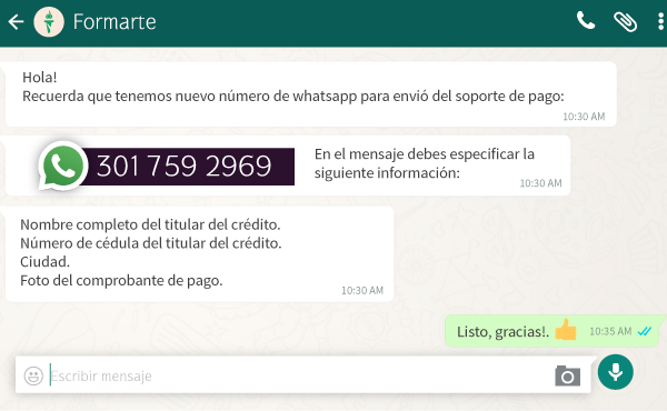 whatsapp formarte